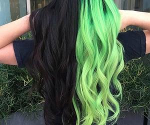 hair, black, and green image