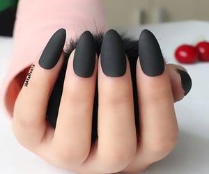 matte black almondnails image