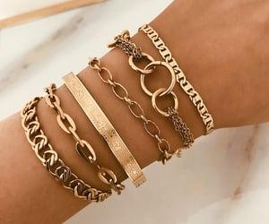 bracelet, girl, and gold image