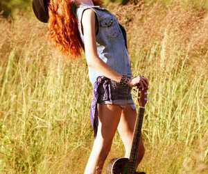 redhead, girl, and guitar image