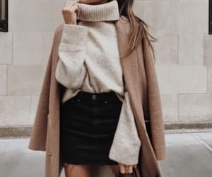 camel, coat, and skirt image