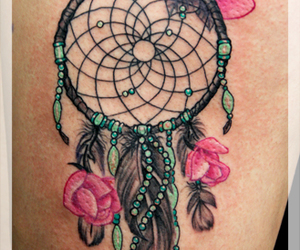tattoo, dream catcher, and feather image