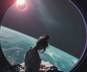 girl, space, and book image