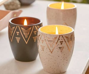 home decor, candle, and gold image