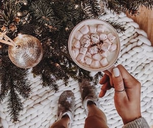 christmas tree, marshmallow, and winter image