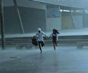 couple, rain, and Relationship image