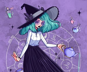 draw, girl, and witch image