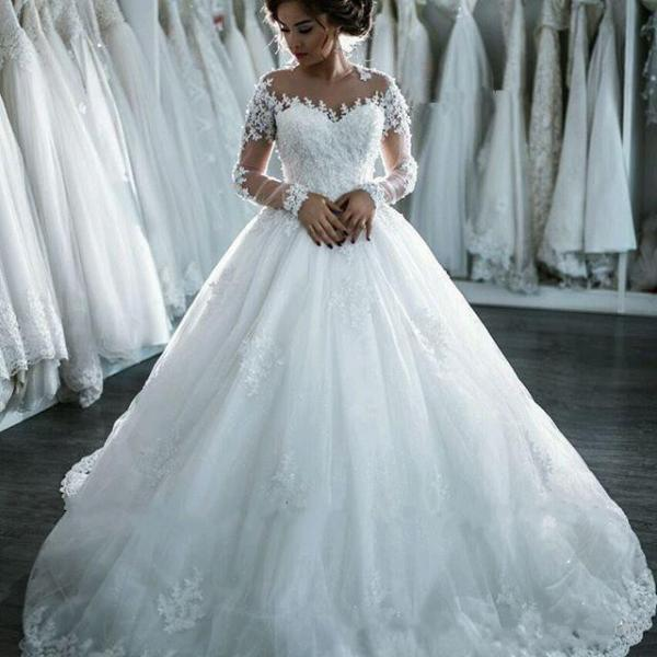 Long Sleeve Ball Gown Wedding Dresses For Bride Lace Applique