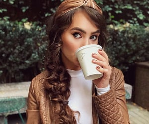 braid, brunette, and coffee image