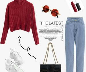 boyfriend jeans, red, and casual image