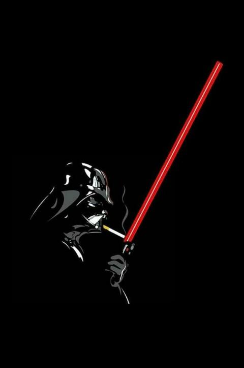 Darth Vader lighting cigarette on