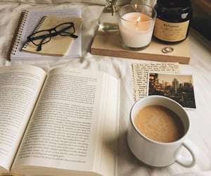 book, candle, and coffee image