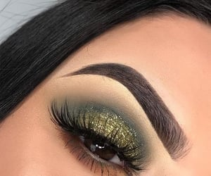 eyebrows, green, and makeup image