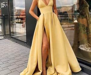 yellow, dress, and fashion image
