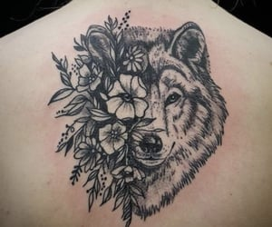 tattoo, wolf, and flowers image