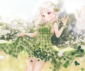 anime girl, autumn, and clover image