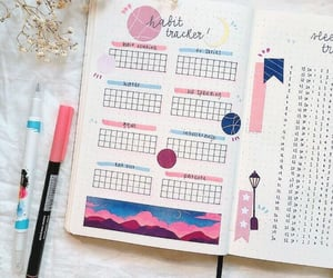 blue, pink, and bullet journal image