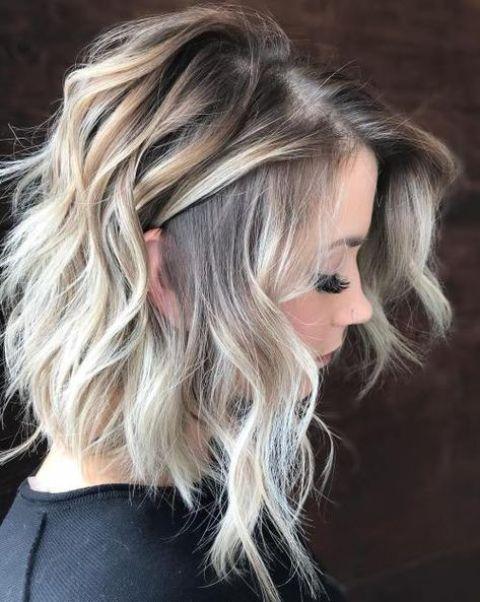 Blonde balayage on medium hair