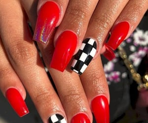 nails, acrylic, and red image