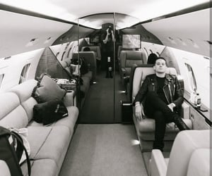 black and white, plane, and private jet image