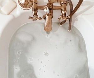 bath, water, and gold image