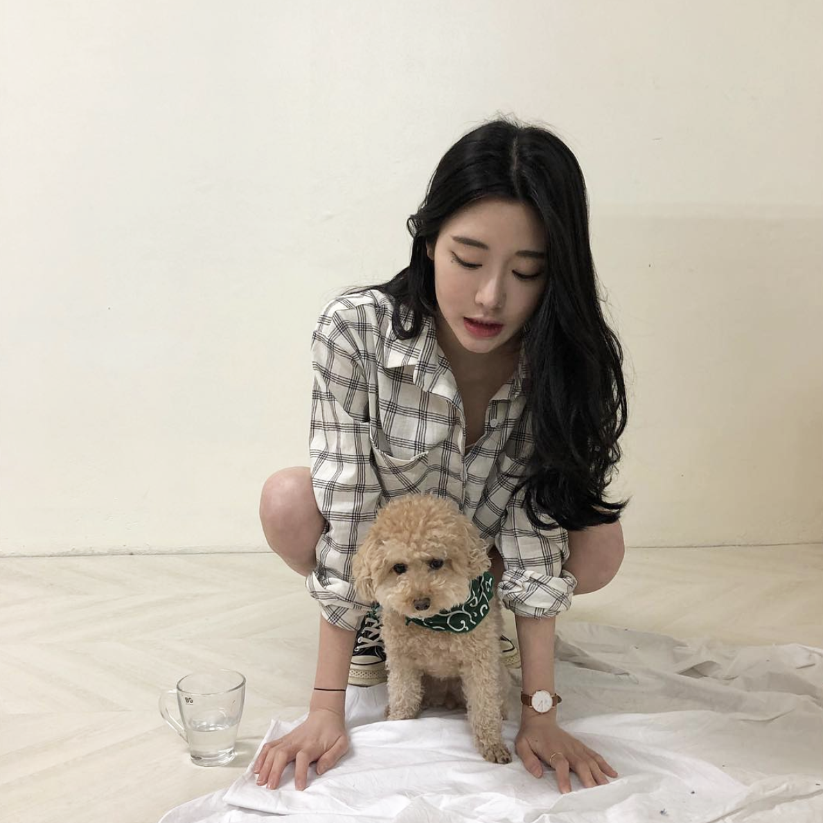 asian, puppy, and girl image
