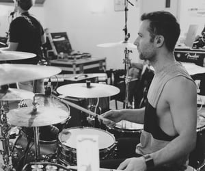 band, galaxy defender, and black and white image