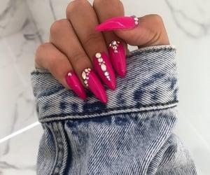 nails, diamond, and manicure image