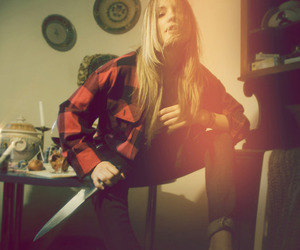 girl, knife, and photo image