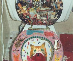 cat, toilet, and bathroom image