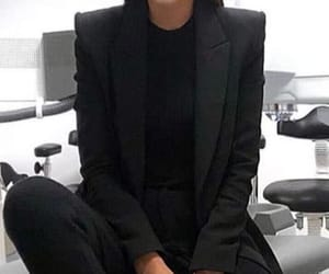 suit, all black, and woman suit image