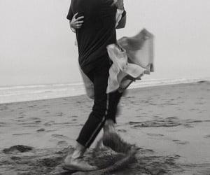 beach, black, and white image