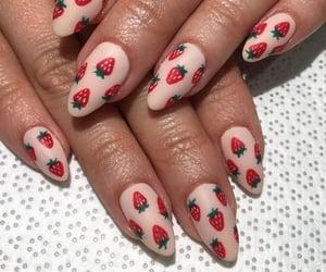 nails, strawberry, and beautiful image