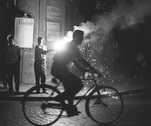 bike, black and white, and lights image
