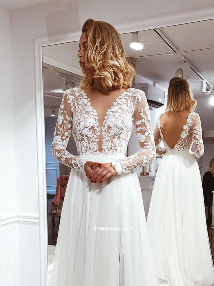 Simple A Line V Neck Open Back Ivory Lace Long Sleeves Wedding Dresses