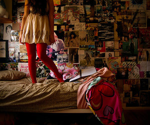 girl, bed, and room image