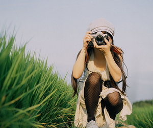 camera, girl, and grass image