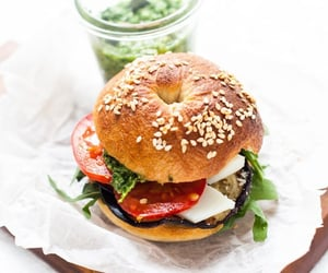 food, sandwich, and bagel image