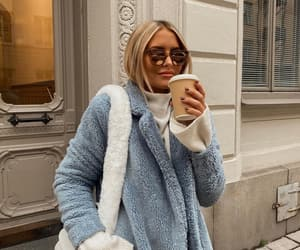 fashion, sunglasses, and fluffy coat image