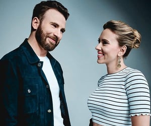 chris evans, Scarlett Johansson, and Marvel image