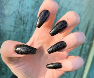 autumn, black and white, and black nails image