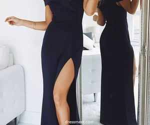 evening dress, black prom dress, and simple prom dress image
