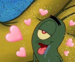 plankton, hearts, and spongebob image