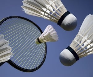 blue, aesthetic, and badminton image