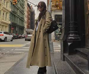 coat, outfit, and trench coat image