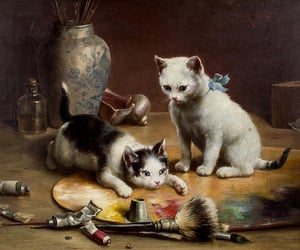 19th century, art, and cat image