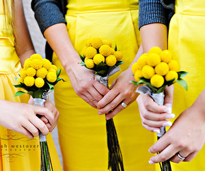 bridesmaids, flowers, and color image