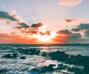 wallpaper, sunset, and sea image
