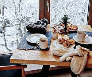 winter, snow, and breakfast image