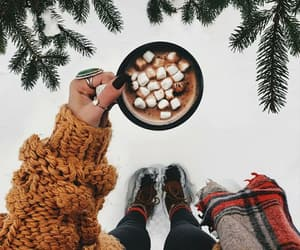 coffee, snowing, and sweater image